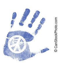 vrede, /, hand, vector, afdrukken, meldingsbord