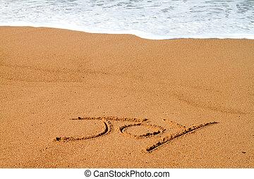 vreugde, geschreven, strand