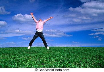vreugde, springt