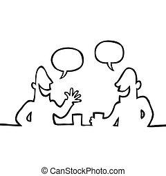vriendelijk, gesprek, hebben, twee mensen