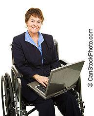 vriendelijk, invalide, businesswoman