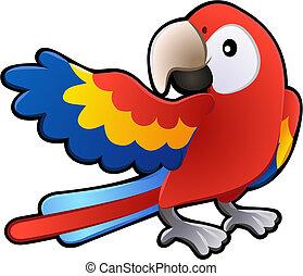 vriendelijk, macaw, papegaai, illustratie, schattig