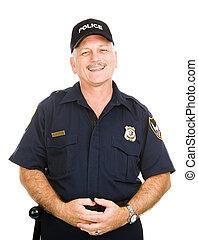 vriendelijk, politieman