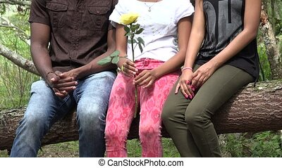 vrienden, afrikaanse boom, zittende