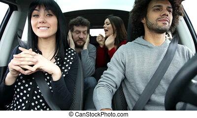 vrienden, koel, het zingen, auto