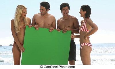 vrienden, plank, groene, vasthouden, th