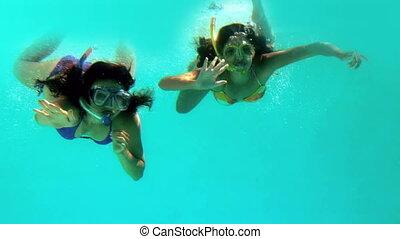 vrienden, zwaaiende , fototoestel, onderwater, vrolijke