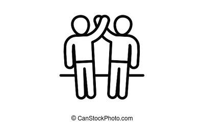 vriendschap, animatie, pictogram