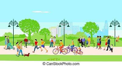 vrije tijd, stad park, illustration.eps, mensen