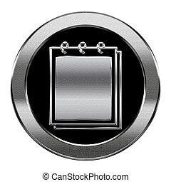 vrijstaand, achtergrond., aantekenboekje, zilver, witte , pictogram
