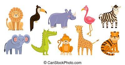 vrijstaand, dieren, baby, afdrukken, vector, getrokken, hand, concept., afrika, wild, gekke , toepassing, illustratie, schattig, plat, ontwerp, jungle, animals., style., spotprent, illustraties, geitjes, objects.
