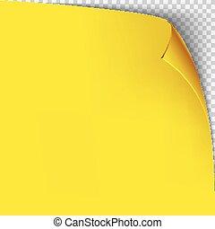 vrijstaand, gele, template., papier, achtergrond, hoek, krul, grid., transparant, lege, pagina