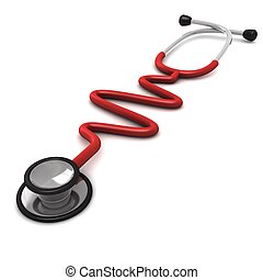 vrijstaand, genereren, computer, stethoscope, achtergrond, wit rood