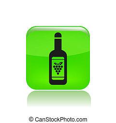 vrijstaand, illustratie, enkel, vector, fles, wijntje, pictogram