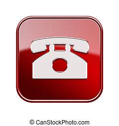 vrijstaand, telefoon, achtergrond, witte , pictogram, rood