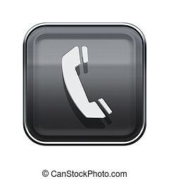 vrijstaand, telefoon, grijze , glanzend, achtergrond, witte , pictogram