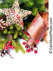 vrijstaand, versiering, decoraties, witte , vakantie, kerstmis