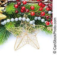 vrijstaand, versiering, ontwerp, witte , grens, kerstmis