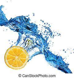 vrijstaand, water, gespetter, gevallen, sinaasappel, witte