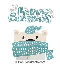 vrijstaand, winter, gekke , hand, groet, getrokken, illustratie, kalligrafie, schattig, card., sjaal, scandinavische, text., vector, voorwerpen, lettering, kerstmis, kerstmis, beer, hat., vrolijk