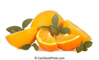 vrijstaand, witte , fris, achtergrond., sinaasappel, close-up, bladeren, afgesnijdenene, sinaasappel