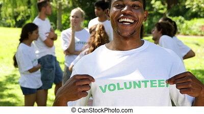 vrijwilliger, mooi, tshirt, zijn, het tonen