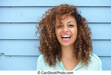 vrolijk, glimlachende vrouw, jonge, afrikaan