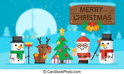 vrolijk, kerstman, boompje, kerstmis, claus, rendier, snowmen, concept