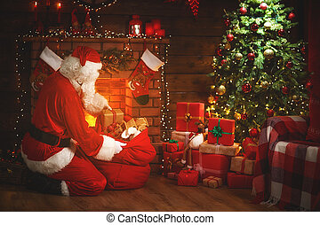 vrolijk, kerstman, christmas!, boompje, kadootjes, claus, openhaard