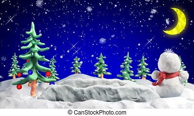 vrolijk, klei, begroetenen, lus, kerstmis