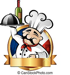 vrolijk, kok, illustratie