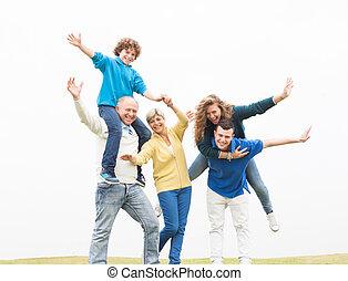 vrolijk, plezier, vakantie, hebben, gezin