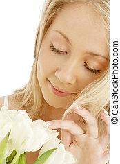 vrolijk, tulpen, witte , blonde
