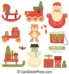 vrolijk, voorwerpen, kerstmis