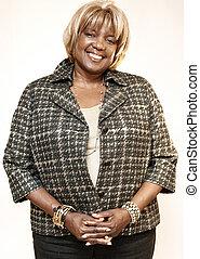 vrolijke , amerikaan, afrikaanse vrouw, ouder