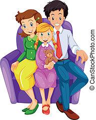 vrolijke , bankstel, gezin, zittende