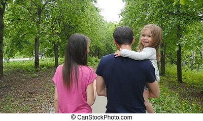 vrolijke , bos, gezin, wandeling