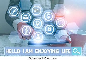vrolijke , conceptueel, hand, life., hallo, showcasing, things., het tonen, het genieten van, ontspannen, levensstijl, foto, genieten, schrijvende , eenvoudig, zakelijk