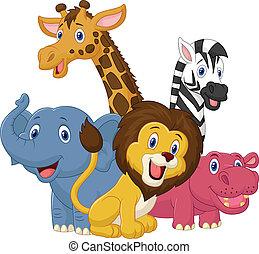 vrolijke , dier, safari, spotprent