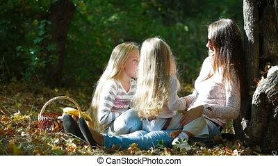 vrolijke , dochter, moeder