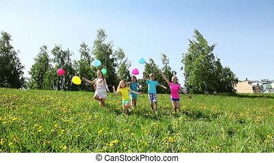 vrolijke , feestje, groep, uitvoeren, geitjes