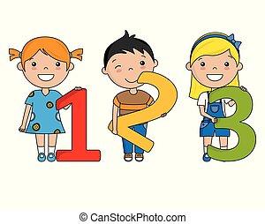 vrolijke , getallen, kinderen