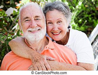 vrolijke , gezonde , paar, senior