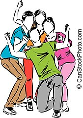 vrolijke , groep, illustratie, mensen