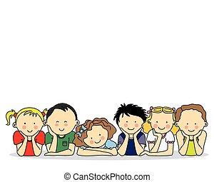 vrolijke , groep, kinderen
