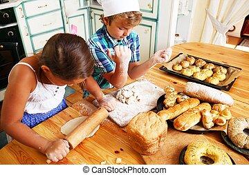 vrolijke , het koken, gebakje, zelfgemaakt, kinderen