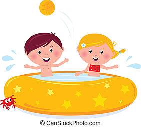 vrolijke , illustratie, zwemmen, zomer, het glimlachen, vector., pool, spotprent, geitjes
