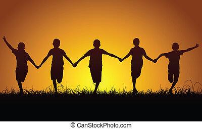 vrolijke , jongens, ondergaande zon , rennende