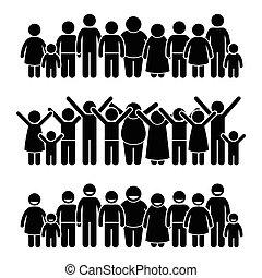 vrolijke , kinderen, staand, groep
