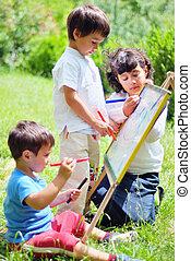 vrolijke , kinderen, tekening, spelend